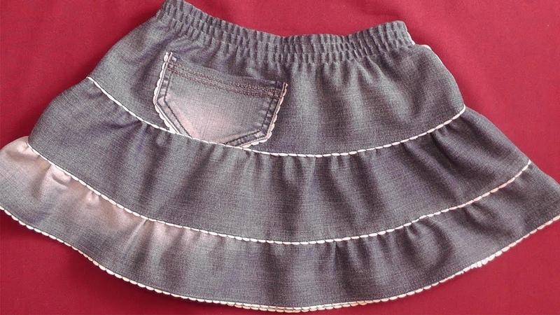 Шьем джинсовую юбку из старых джинсов на девочку