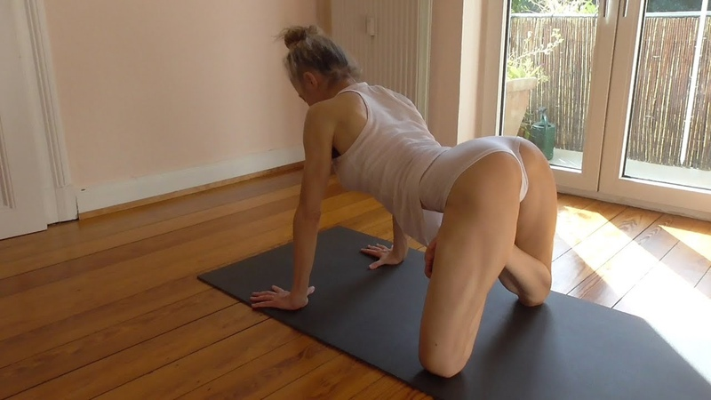 Yoga - stretching to maintain flexibility of spine (incl. puppy pose)