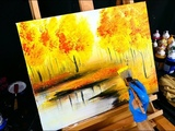 Fall season landscape painting yellow, red, orange autumn leaves, trees and reflective lake