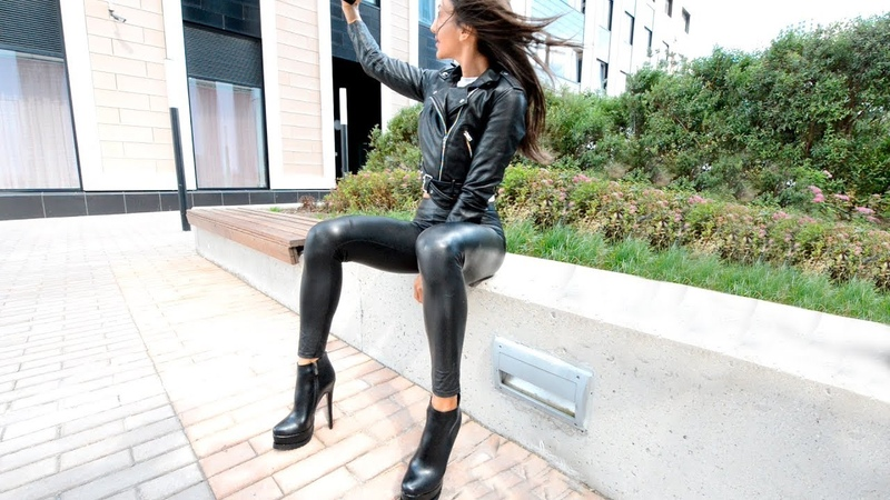 Transformation Boy To Girl. High heel Boots. Selfie leather leggings