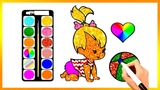 Drawing Glitter Baby - Animals Coloring Book Kids Learn Easy Painting Colors Pages Video#226