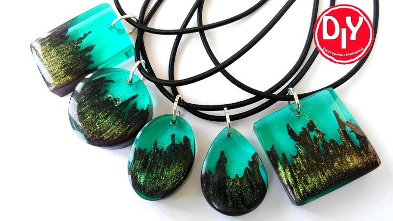 Кулоны из эпоксидной смолы и полимерной глины с эффектом ломанного дерева Epoxy resin jewelry