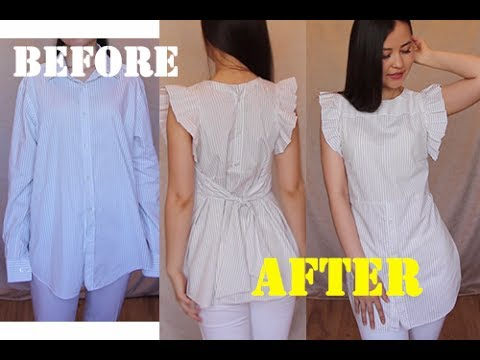 Mens shirt into Pretty shirt with ruffles 100upcycle refashion idea