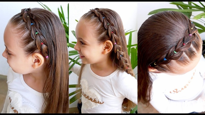 Penteado Infantil fácil com tiara de trança falsa e ligas coloridas