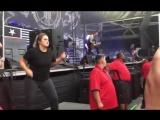 Sign language interpreter at Lamb of God concert