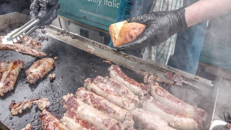 Grilled Sausages, Caponata, Onions and Cheese from Sicily, Italy. London Street Food