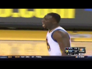 Draymond Green makes a 3 pointer on his first NBA basket and subsequently gets a technical