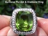 Catherine Zeta-Jones Burmese Peridot &amp Diamond Cocktail Ring. VS Diamonds and Solid 18K Gold