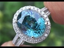 FLAWLESS Natural Blue Zircon Diamond Cocktail Ring Estate Auction - C293