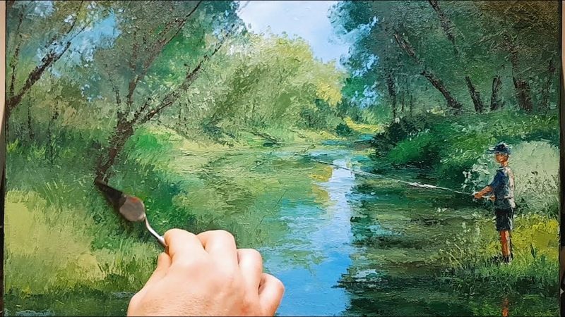 River Fishing - How to - Oil Painting - Palette Knife | Brush - Trees Forest Bush Nature Dusan
