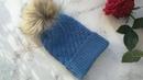Модная шапка спицами женская шапка спицами мужская шапка спицами детская шапка с помпоном