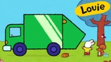 Louie, draw me a dustbin lorry | Learn to draw cartoon for kids