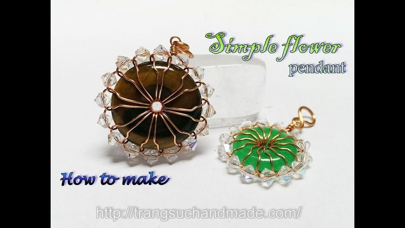 Simple flower pendant with donut stone and crystal beads 380