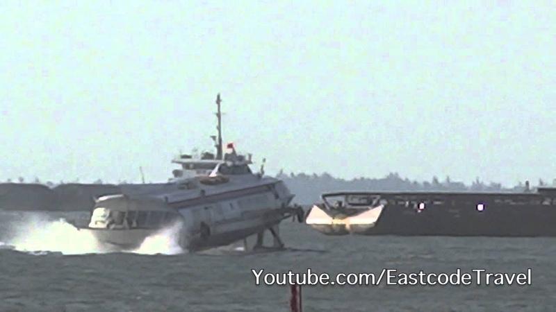 Hydrofoil speeding in Vung Tau bay Vietnam