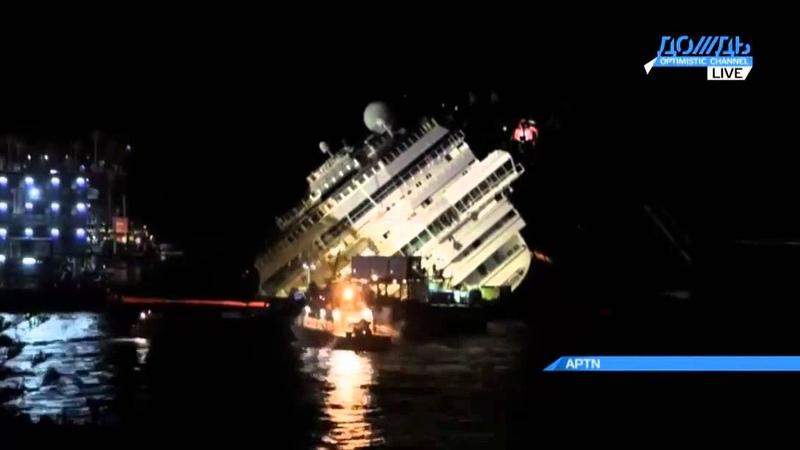 Как поднимали лайнер Costa Concordia видео операции, сжатое в одну минуту