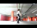 Girl in spandex Dancing in leather leggings in the parking lot