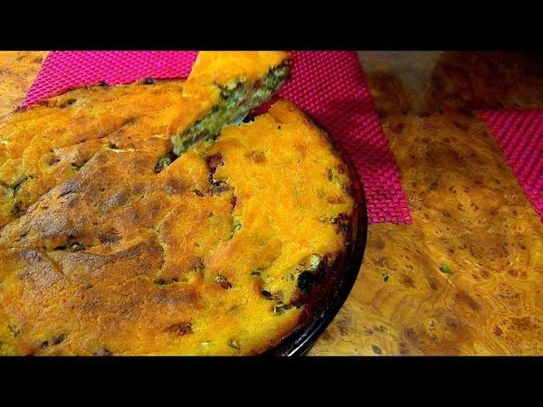 Заливной пирог с капустой. Капустная шарлотка. Очень простое и вкусное блюдо.