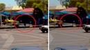 На видео попал путешественник во времени, исчезнувший за секунду до взрыва грузовика!