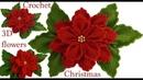 Como hacer flores Nochebuena en 3D con hojas a Crochet en punto tunecino tejido tallermanualperu