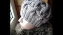 Шапка спицами из объемных кос Часть 1 Women's hats knitting
