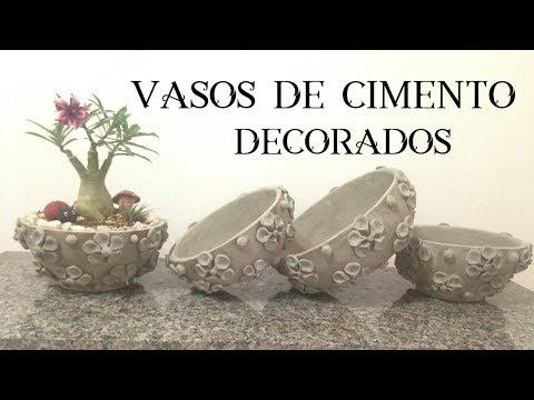 VASO DE CIMENTO DECORADO PARA ROSA DO DESERTO E AFINS
