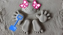 Make a sand girl with sand molds and shovel toys in the sandpit