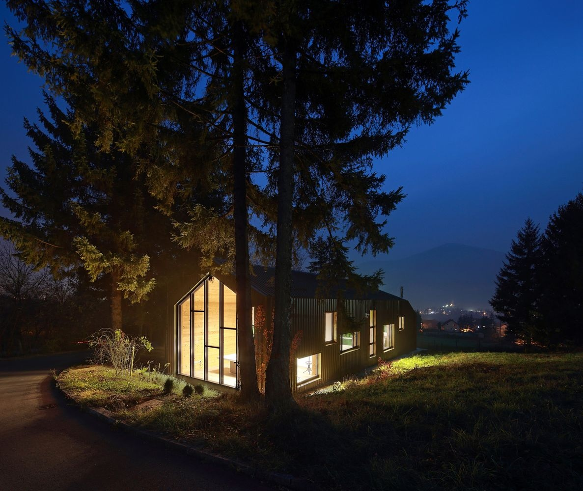 Small Administration House and Big Pine Trees