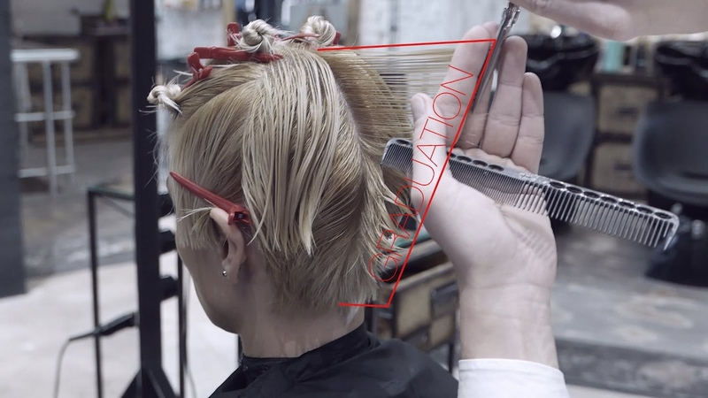 Short womens haircut, combination of graduation and layers