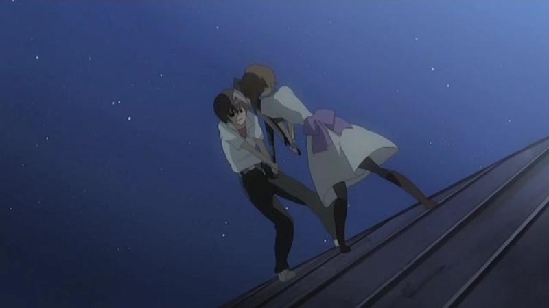Бой на крыше [Момент из аниме Higurashi no Naku Koro ni]