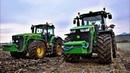John Deere 8400r 8430 Massey Ferguson 7724 winter plowing