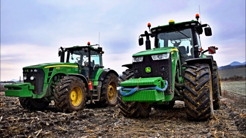 John Deere 8400r 8430 , Massey Ferguson 7724 -- winter plowing