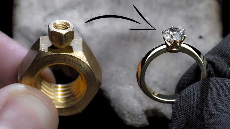 I TURN 2 HEX NUTS into a 1 Ct DIAMOND RING