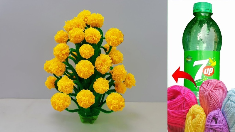 বোতল আর ওলের সুতা দিয়ে ফুলের টব How to make Flower Vase with Wool