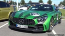 The Huge Sounds Of 585HP Mercedes Benz AMG GTR Green Tiger Revs Loud Acceleration