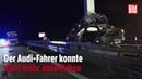 Mundelsheim A81 in Baden-Württemberg: Sportkombi Audi RS6 mit 560 PS rast mit Tempo über 200 in LKW