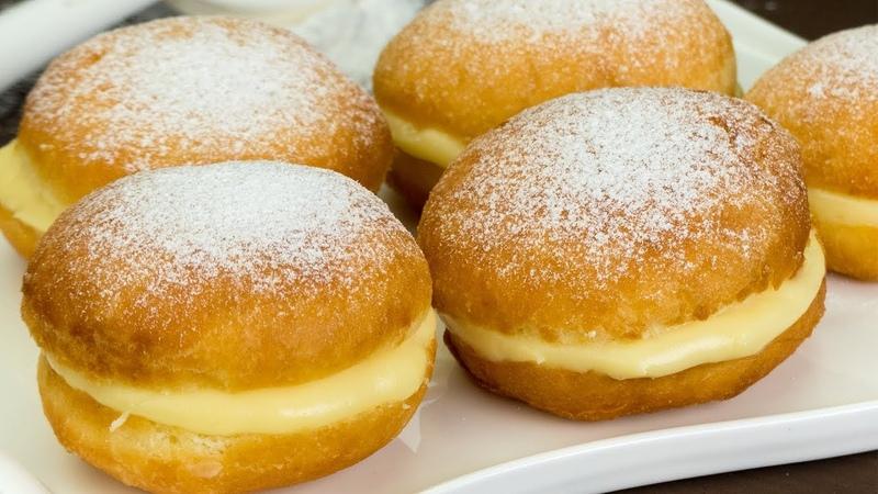 Рай для сладкоежек! Простой рецепт пышных пончиков с молочным, заварным кремом.   Appetitno.TV