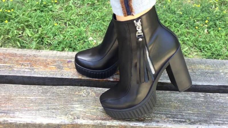 Видеообзоры на чёрные кожаные ботинки на удобном каблуке ТМ Gino Figini