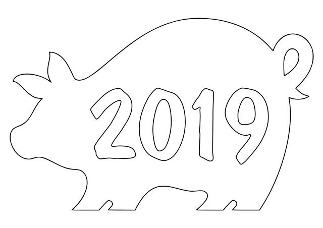 Трафареты на Новый год свиньи 2019 для вырезания: на окно, зеркало, дверь