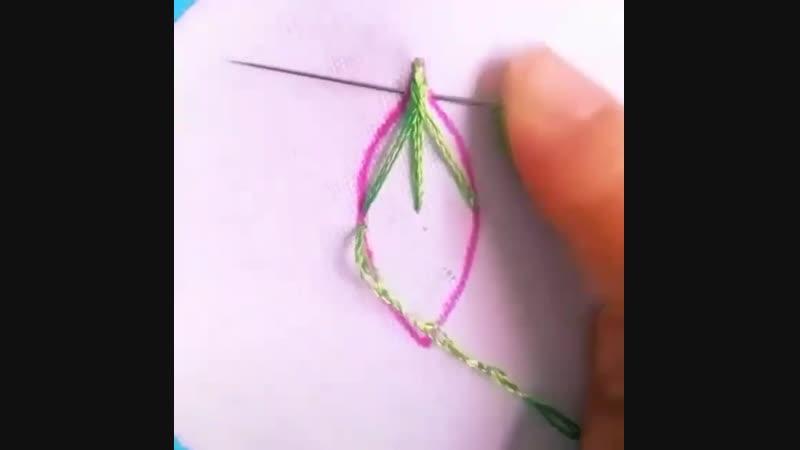 вышиваем листок