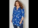 Блузка цвета синий кобальт с цветочным принтом 130370