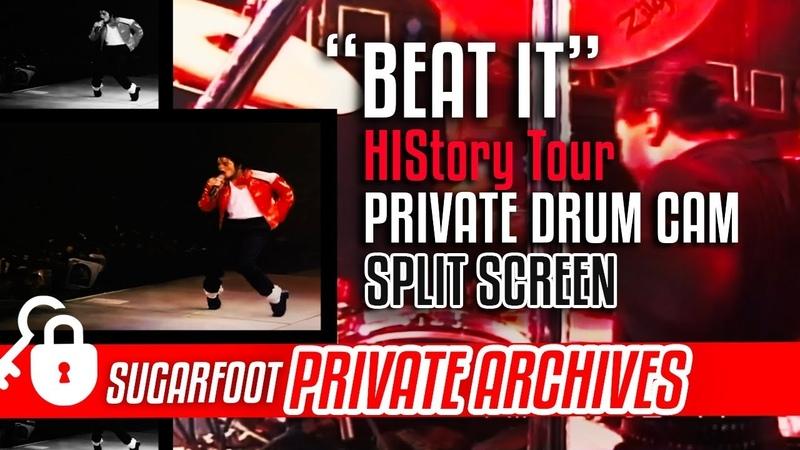 "Beat It"" Sugarfoot DRUM CAM split screen - HIStory Tour"