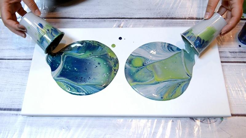 (50) Grey, Metallic Green Deep Blue Acrylic Pour Dirty Cup Flip!