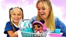 Кукла Лол идет в магазин Барби и готовит плей до пирог.