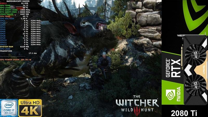 The Witcher 3 Maximum Settings 4K | RTX 2080 Ti | i7 8700K 5.3GHz