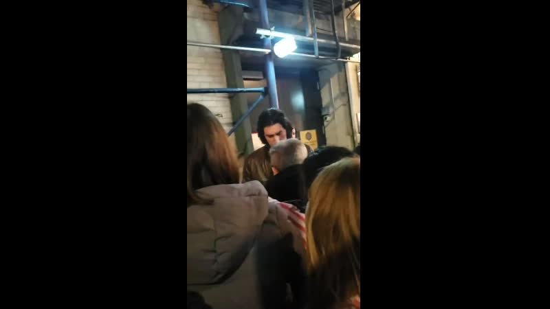 Adam Driver signing autographs after tonight's Burn This