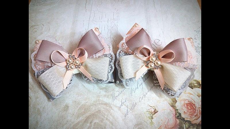 Нарядные резинки бантики из лент канзаши МК часть 2 hair clips ribbon kanzashi DIY