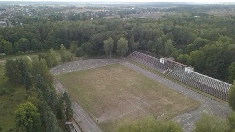 Стадион Труд с высоты птичьего полета Клинцы Брянская область