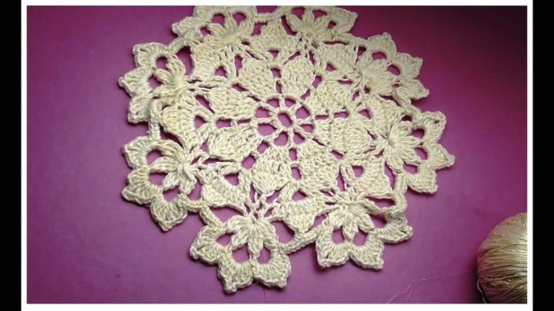Мотив для салфетки крючком Crochet motif Pattern for Doily