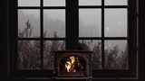 Rain on window - crackling fire and misty atmosphere for sleep, study, relax