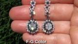 UNIQUE 5.05 Carat Colorless &amp Fancy Black Dangle Vintage Earrings 18k Gold - WATCH IN HD